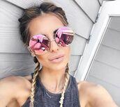 sunglasses,pink,celebrity,round sunglasses,mirrored sunglasses,grey top,sunnies,glasses,round frame glasses,accessories,Accessory,summer,summer accessories