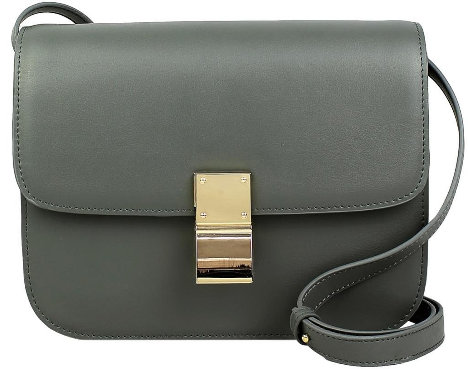 834fdeebe678 Lush Leather Boxy Shoulder Grey Bag  Handbags  Amazon.com