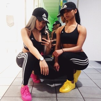 shoes adidas superstars pink superstars yellow adidas pharell sport bra adidas hat gym patta top shorts