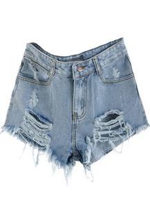 zerrissene Denim-Shorts mit mittelhoher Taille, blau-Sheinside