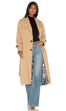 ANOUKI Sparkly Silver Double Sided Trench Coat in Beige from Revolve.com