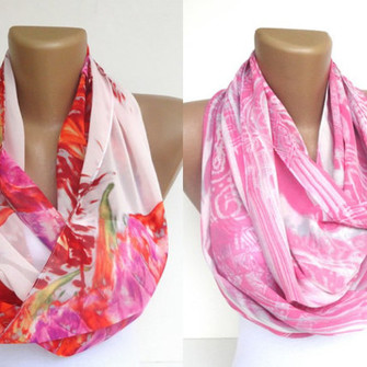white green pink infinity scarf infinity scarves eternity scarf loop scarf circle scarf trend trending trendy pink scarf floral etsy seno handmade fabric sewing gift gift ideas wholesale summer spring 2013 scarves scarves colorful floral print mothersday gift idea holidays two piece scarf red
