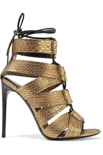 metallic python sandals lace gold shoes