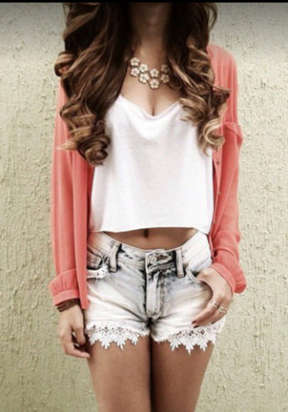 lace shorts cardigan cute outfit pink cardigan white tank top