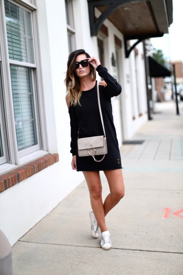 dress tumblr mini dress white dress long sleeves long sleeve dress sneakers white sneakers bag grey bag sunglasses shoes