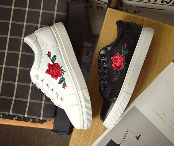 shoes fashion floral roses cool black white trendy sneakers embroidered  beautifulhalo 20e7f3340