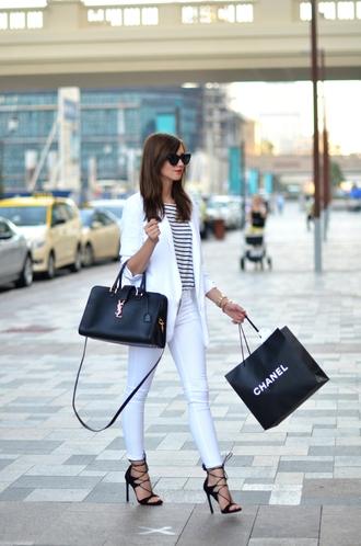vogue haus blogger skinny pants white jeans white blazer ysl bag