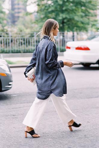 vanessa jackman blogger white pants mules polka dots oversized shirt
