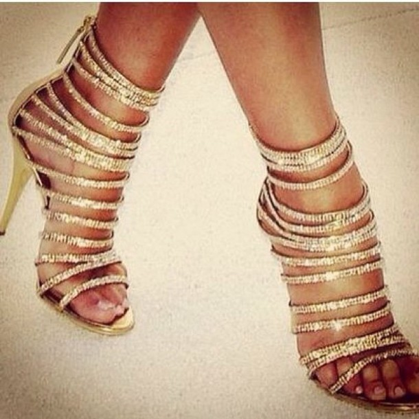 Shoes: pumps, rhinestones, high heels, gold, strappy, high fashion ...