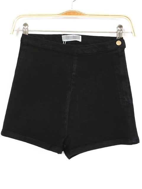 Black High Waist Zipper Denim Slim Shorts - Sheinside.com
