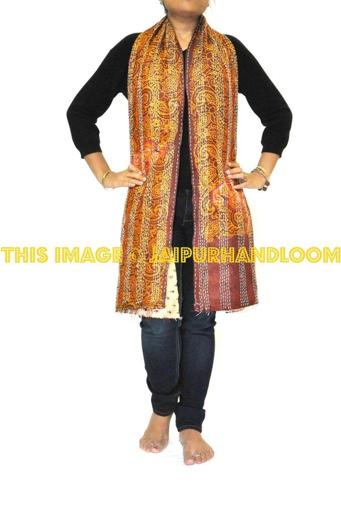 silk kantha scarf - Datura