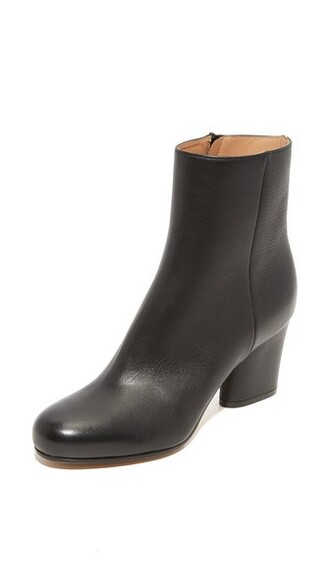booties leather black shoes