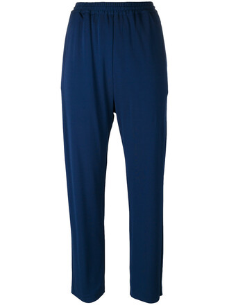 pants track pants cropped women blue