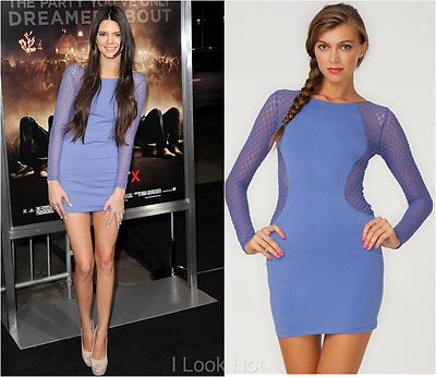 Motel goldie bodycon dress  periwinkle hexagon mesh celeb style size m/12uk/8us on ebay!