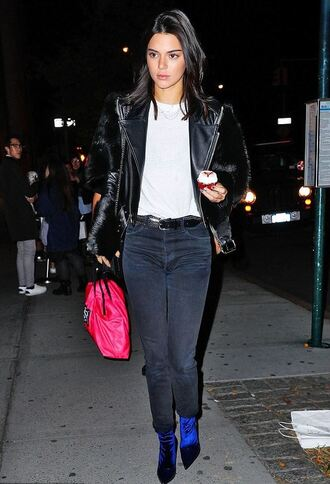 shoes jeans fall outfits model off-duty kendall jenner top jacket