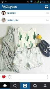 shorts,cactus,crop tops,top,sweater,shirt