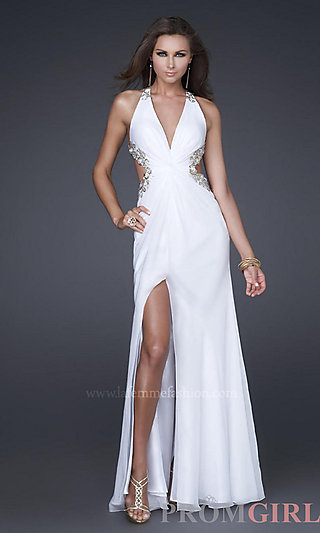 Low Cut Prom Evening Gowns, La Femme Long Prom Dresses- PromGirl