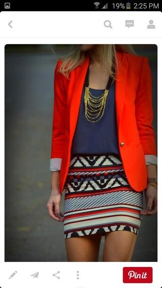 skirt tribal pattern tribal skirt aztec print mini skirt orange blazer navy top