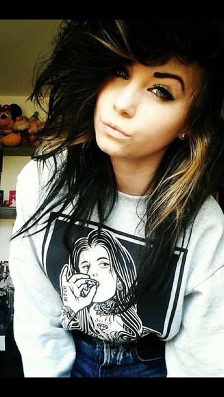 black girl style top sweater grey smoke