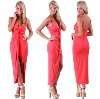 coral dress summer dress dress sexy dress summer outfits ootd shoes long dress maxi dress wiwt ootn ootdfash ootd instafashion blonde hair knotted dress