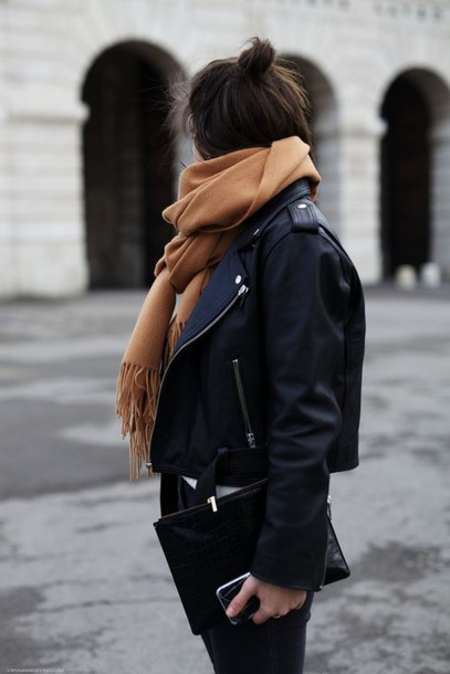 Jacket Perfecto Scarf Camel Bag Streetstyle Winter