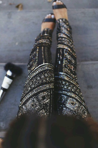 leggings shine sequin metallic trinal pattern