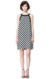 dress,zara,zara dress,louis vuitton,lv,checkered,plaid,black and white,b&w,cute,2013,spring 2013,summer 2013,summer,summer dress