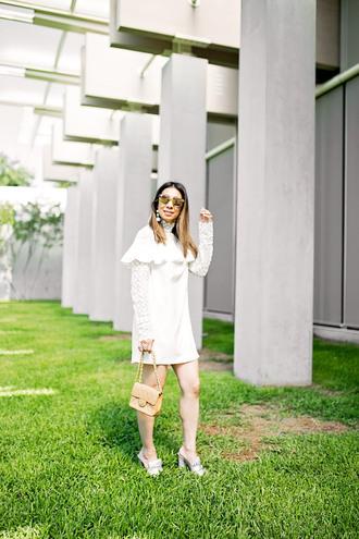 styleofsam blogger dress shorts jewels bag sunglasses white dress sandals long sleeve dress summer outfits