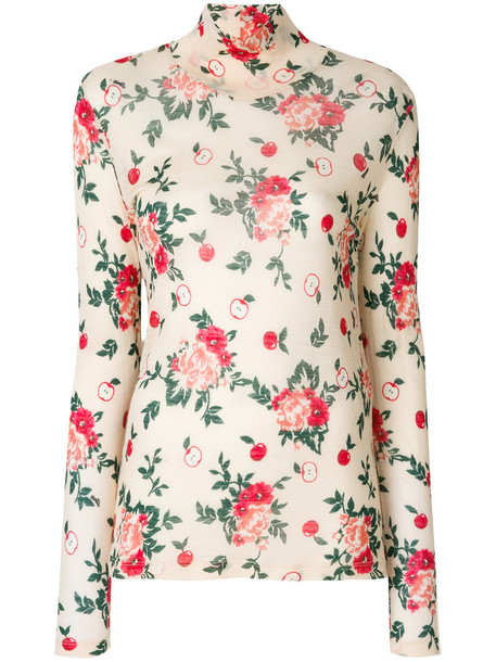 turtleneck women floral nude print wool sweater
