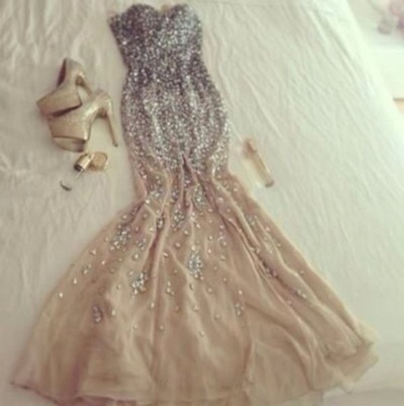 dress fashion bustier embellished mermaid mermaid dress prom ball gown nude sequins high heels gold stilettos perfume shoes