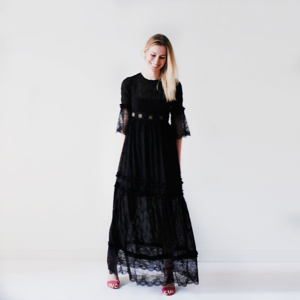 Black hippie maxi dress