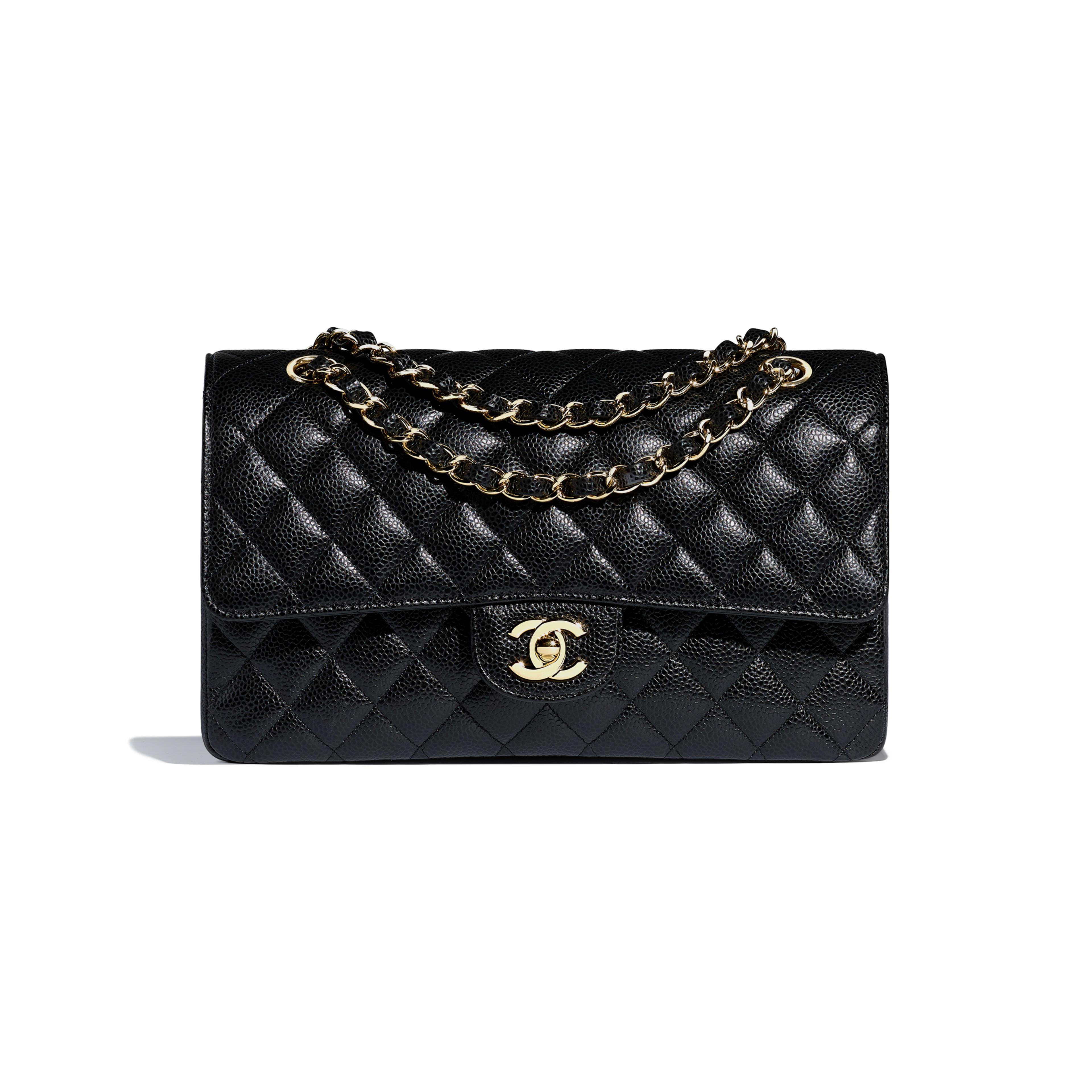 Grained Calfskin & Gold-Tone Metal Black Classic Handbag | CHANEL