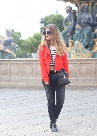 elodie in paris blogger red jacket striped top
