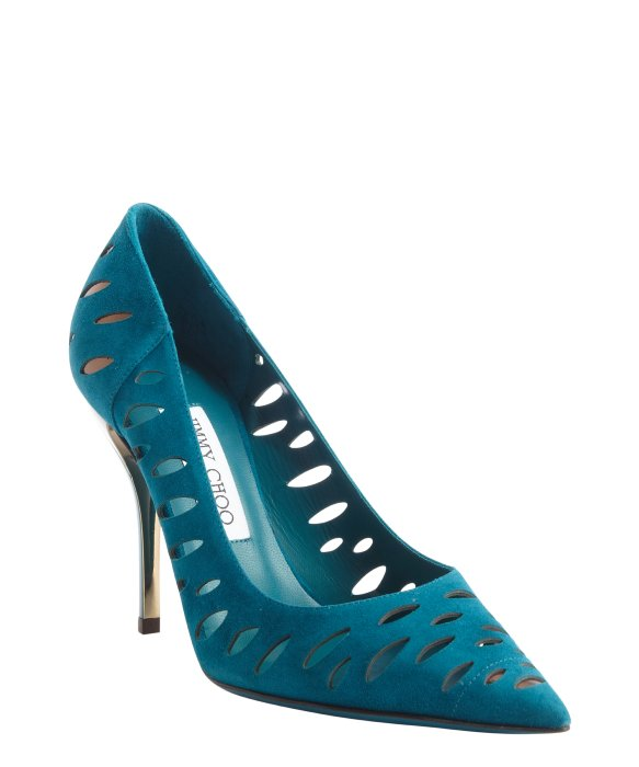 Jimmy Choo teal suede cutout pumps | BLUEFLY up to 70% off designer brands