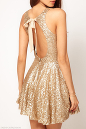 dress,clothes,gold,cute dress,summer,special occasion,formal dress,classy,girly,sparkle,gold dress,ribbon back,open back,mini dress,sequins,backless dress,gold sequins,gold sequins dress,no back dress,champagne,glitter dress,new year's eve,backless,sleeveless dress,dress party