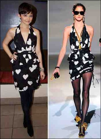 dress ginnifer goodwin cute heart black and white