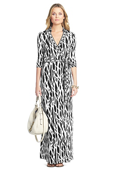 Abigail banded maxi silk jersey wrap dress