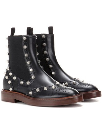 embellished boots chelsea boots leather black shoes