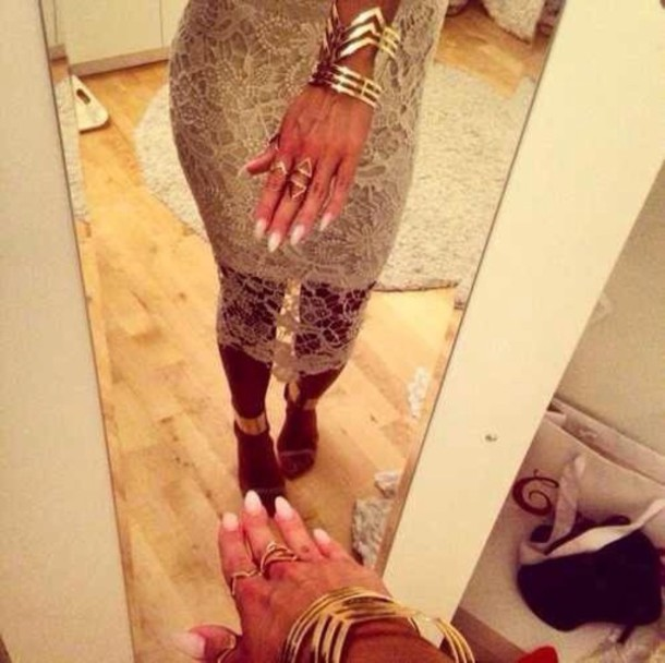 skirt nude lace skirt jewelry gold sequins