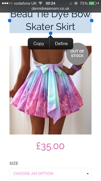 skirt tye dye bow skater skirt