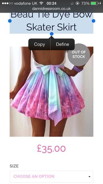 skirt tie dye bow skater skirt