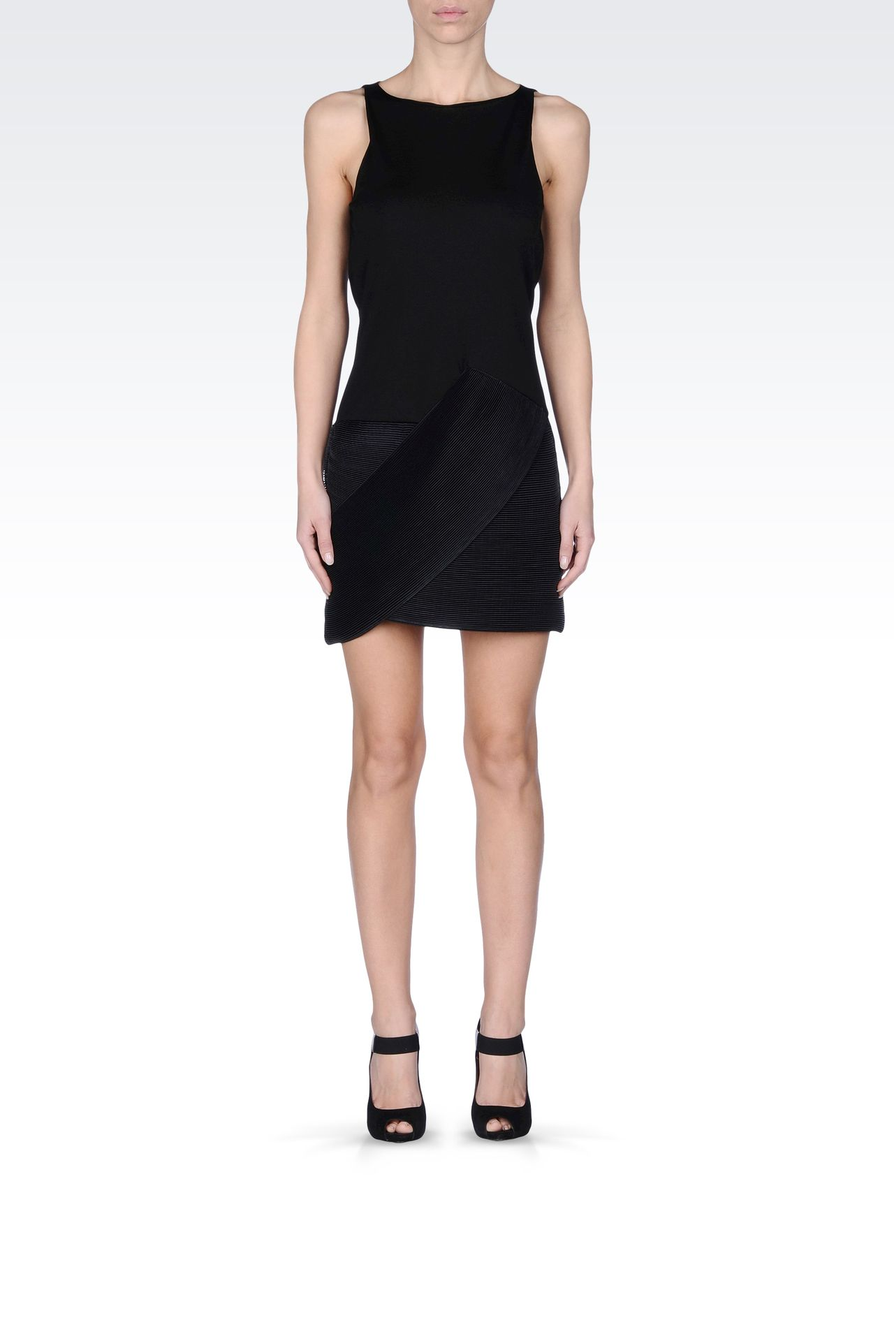 Emporio Armani Women Short Dress - VISCOSE DRESS WITH PLEATED MOTIF Emporio Armani Official Online Store