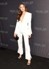 pants,blazer,olivia culpo,suit,white,white suit