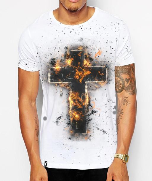 t-shirt clothes t-shirt crucifix cross jesus fire fury fierce religious religion fashion