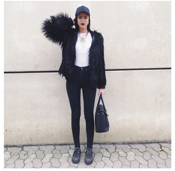 Jacket: black, fur, coat, leggings, ring, necklace, jewelry, boots ...