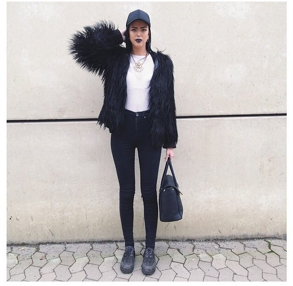 jacket black fur coat jacket leggings ring necklace jewelry boots jeans denim cute hot style fashion ring fluffy
