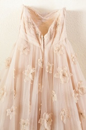dress,flowers,blush,mesh