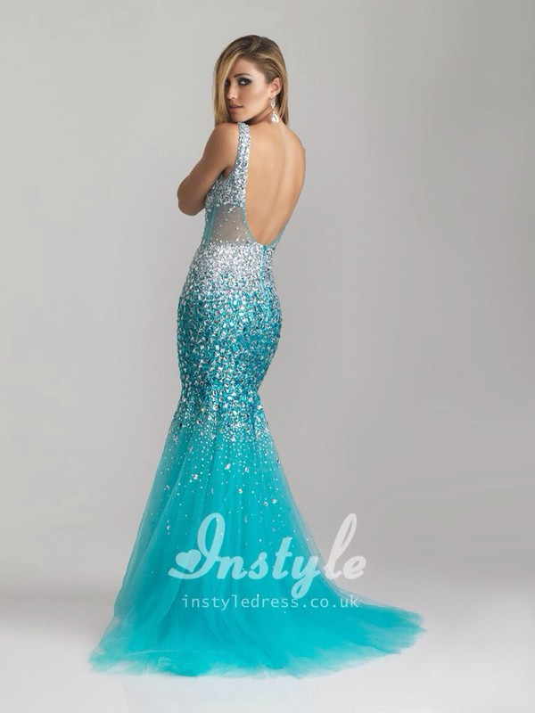 turquoise mermaid prom dress sparkle sheer silver straps open back prom dress dress