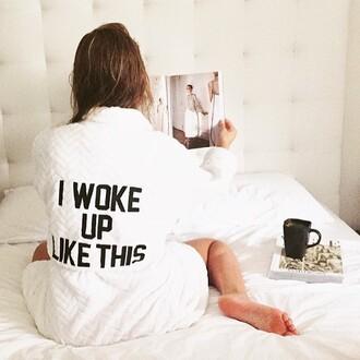 dress private party robe bath robe soft i woke up like this black and white long sleeves revolveme