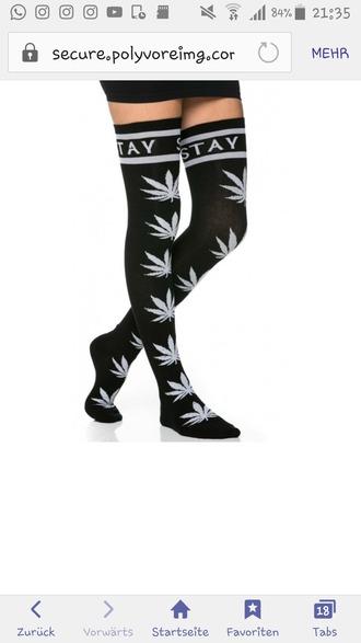 socks tights black high overknee socks overknees weed weed socks weed accesory knee high socks dope dope shit drugs trippy green plants high socks cute socks black long socks huf socks